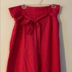 Neon Pink Belted Wide Leg Pant